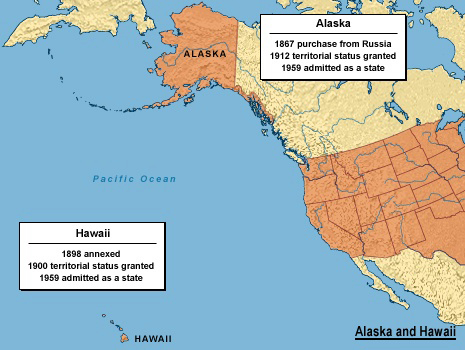 Mapping History - Map of us and hawaii