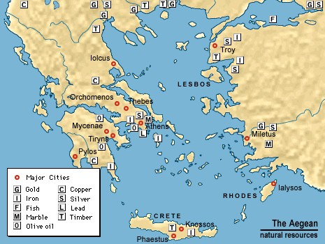 Ancient Greece Natural Resources Map